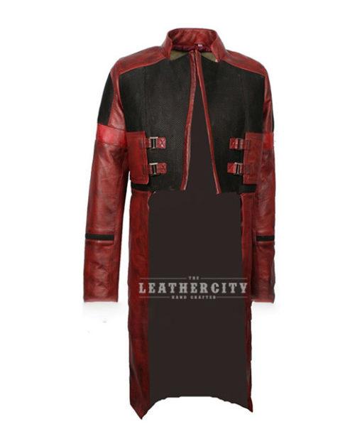 Womens Star Galaxy Vol 2 Gamora Genuine Leather Trench Coat frontt