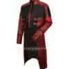 Womens Star Galaxy Vol 2 Gamora Genuine Leather Trench Coat right