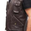 Chris Pratt's Jurassic World Brown Leather Vest Closure 2