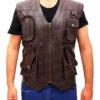Chris Pratt's Jurassic World Brown Leather Vest Front