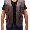 Chris Pratt's Jurassic World Brown Leather Vest Front Open