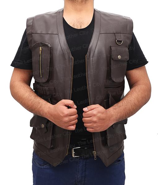 Chris Pratt's Jurassic World Brown Leather Vest